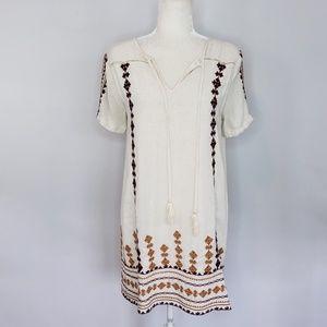 THML off white boho short sleeve dress Small